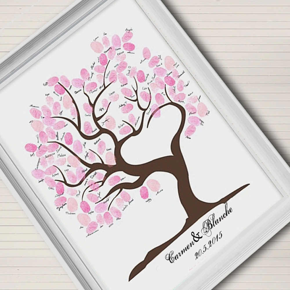 指紋署名キャンバス絵画結婚式ツリーピンクツリーウェディングギフト結婚式diy装飾(含まれ6Ink色)