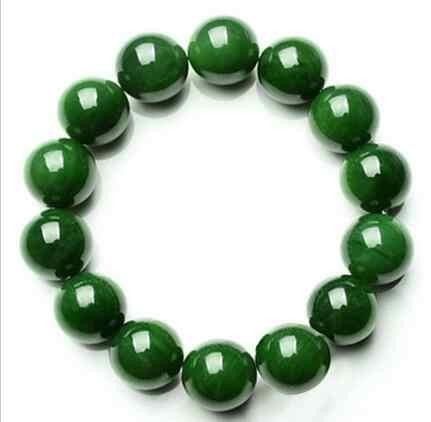 ธรรมชาติ 12 มิลลิเมตรหยกสีเขียวอัญมณีลูกปัดสร้อยข้อมือกำไลข้อมือยาวสูง