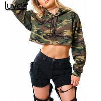 LUVCLS Women Long Sleeve Camouflage Hoodies Sweatshirt Camo Army Hip Hop Streetwear Crop Top Pullover Short