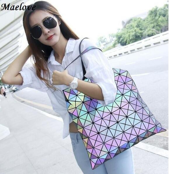Maelove Luminous Bag 신품 빈티지 여성 가방 메신저 백 홀로그램 레이저 숄더 Noctilucent Geometry Lattic Bag 송료 무료