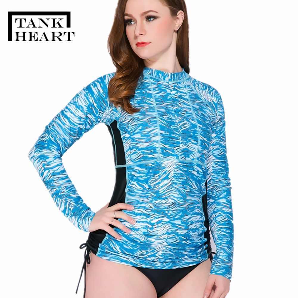 9b9eb53dcae ... Tank Heart Print Rash Guard Women Rashguard Lycra Surf plus size  swimwear women long sleeve swimsuit ...