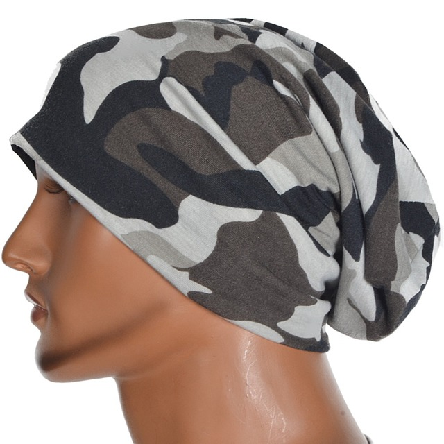 bc5ea0e177f Men Cool Camouflage Slouchy Beanie Hat Skullcap Oversized Summer Cap  FORBUSITE