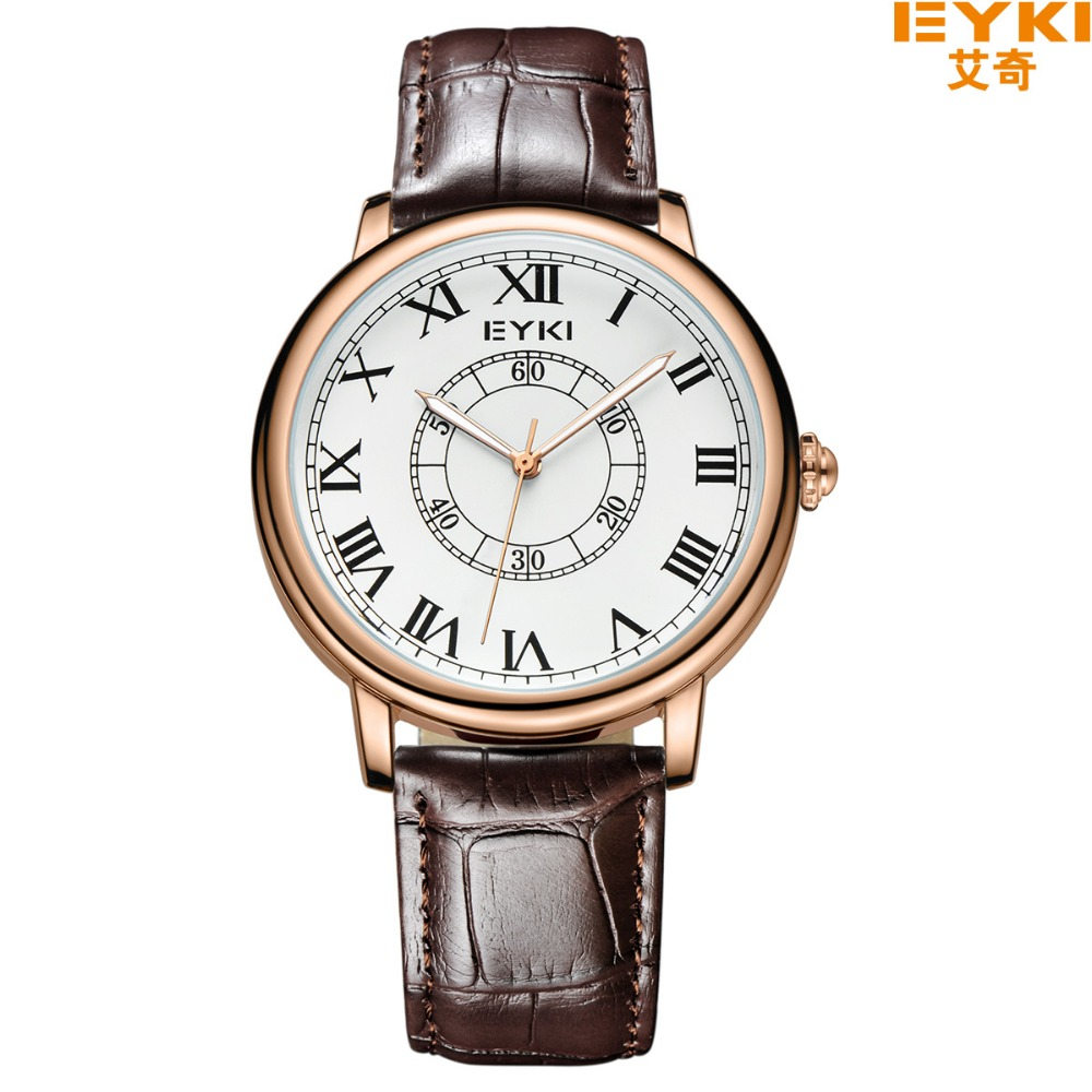 Eyki Brand Men's Wrist Watches Casual Fashion Roman Scale Genuine Leather Strap Quartz Watch Ladies Dress Watch Clock Men