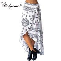SK113 Womens Floral Print Bohemia Magic Maxi Skirt Boho Hippie Summer Beach Asymmetrical Wrap Long Skirt