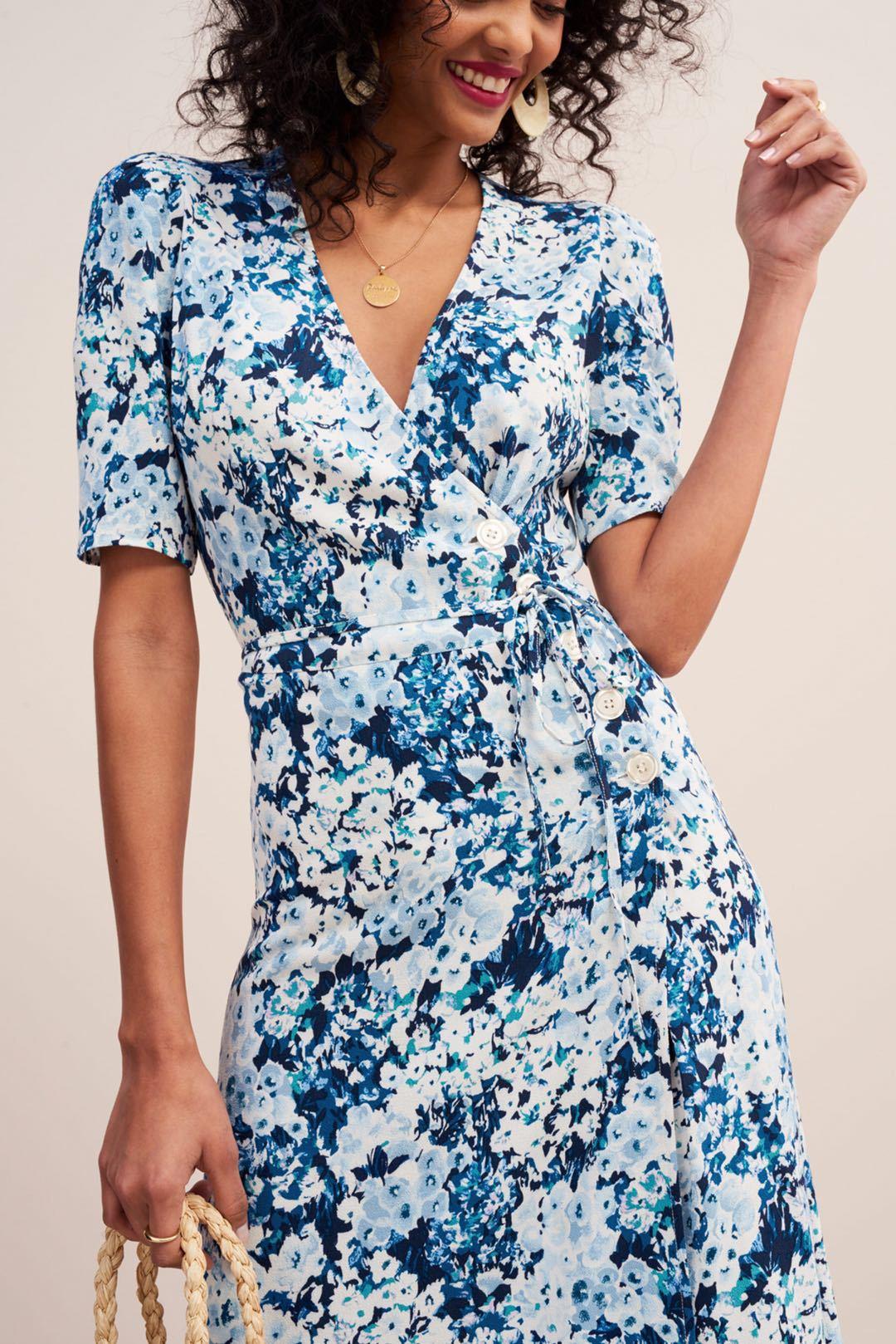 Women Dress V Neck 2019 Elegant French Side Button Wrap Midi Dress