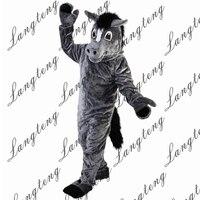 2018 Новая горячая распродажа серый лошадь костюм талисмана взрослых Размеры Хэллоуин наряд Необычные платья Костюм Бесплатная доставка