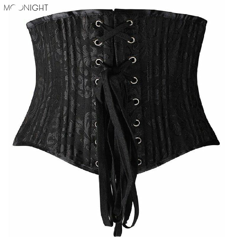 MOONIGHT Body Shaper Woman Sexy Women Underbust Corsets & Bustiers Black 22 Steel Bone Corset Waist Cincher Corselet