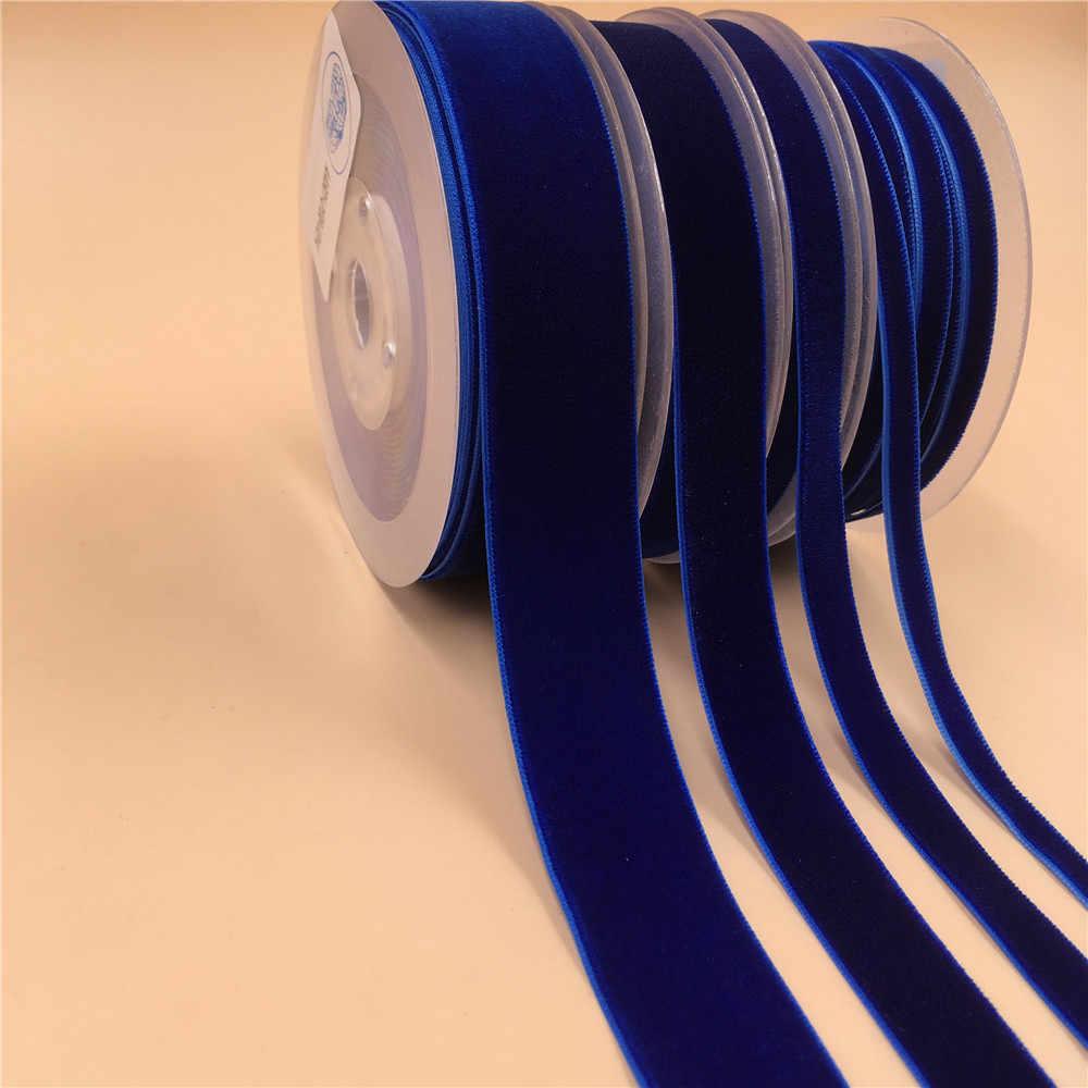 6 MM, 9 MM, 15 MM, 25 MM V014 Kraliyet Mavi Naylon Tek Yüz kadife kurdele, olmayan streç kadife kurdele dokuma DIY aksesuarları