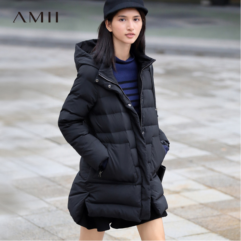 Amii Minimalist Women 2018 Solid Winter 90% White Duck Down Coat Hoodies Pockets Female Fashion Light Jacket Coats
