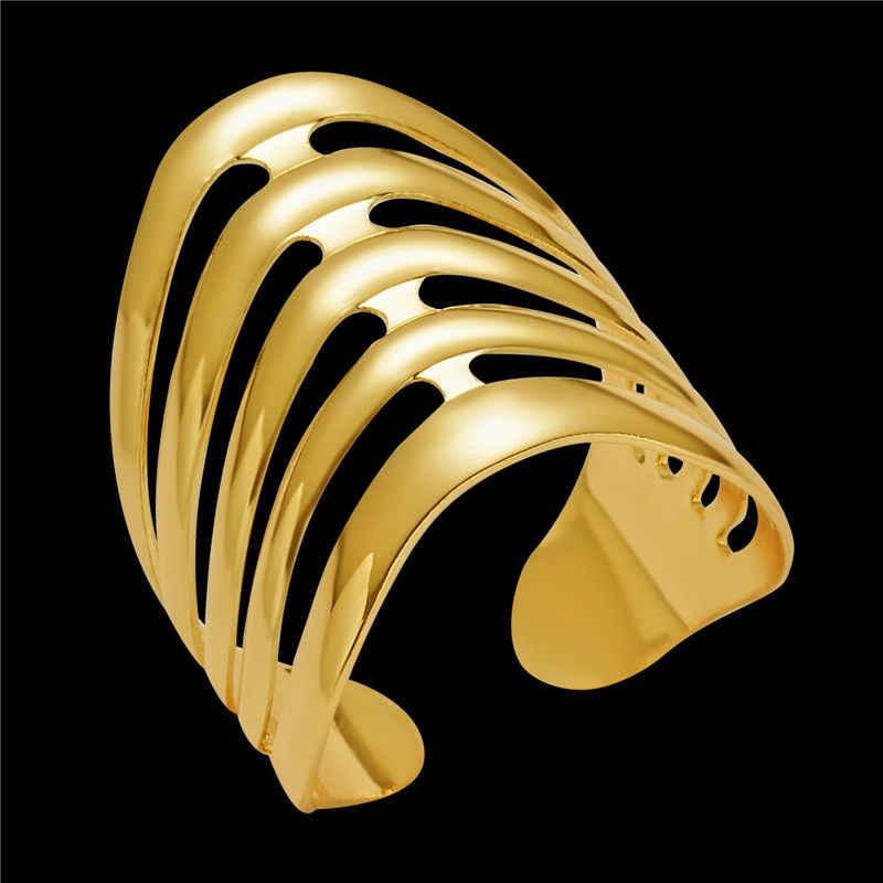 2019 nova moda ouro geométrico arcos listras oco para fora anel de abertura para as mulheres punk liga dedo anéis simples boho jóias