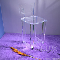 Free shipping ONELUX Crystal Home Use Acrylic bar chairs,Lucite bar stool with seat back cushion available
