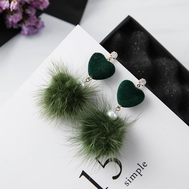 2017 Novo Design de Alta Qualidade Coração Padrão Luxo Marten Cabelo Casamento Mulheres Brincos Brincos Longos Para As Mulheres, E0154