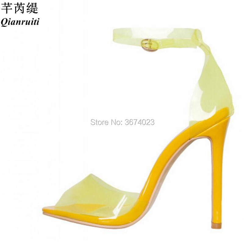f7183cc5c4d Qianruiti New Shoes Women PVC Sandals Peep Toe High Heels Yellow Blue  Orange Perspex Heels Clear Strap Stilettos Jelly Sandals