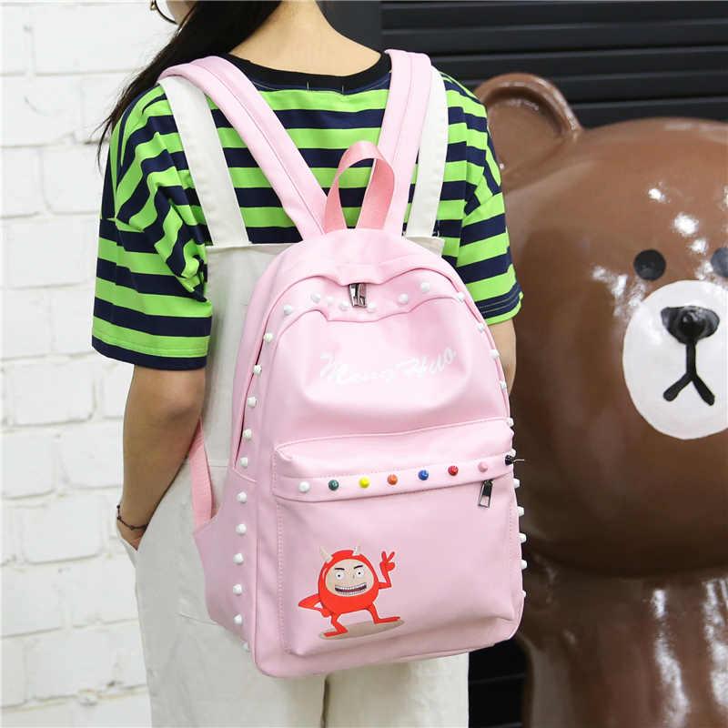 MengHuo дизайн демона, PU материал, изысканный школьный стиль, подходит для всех возрастных групп дам плеча рюкзак