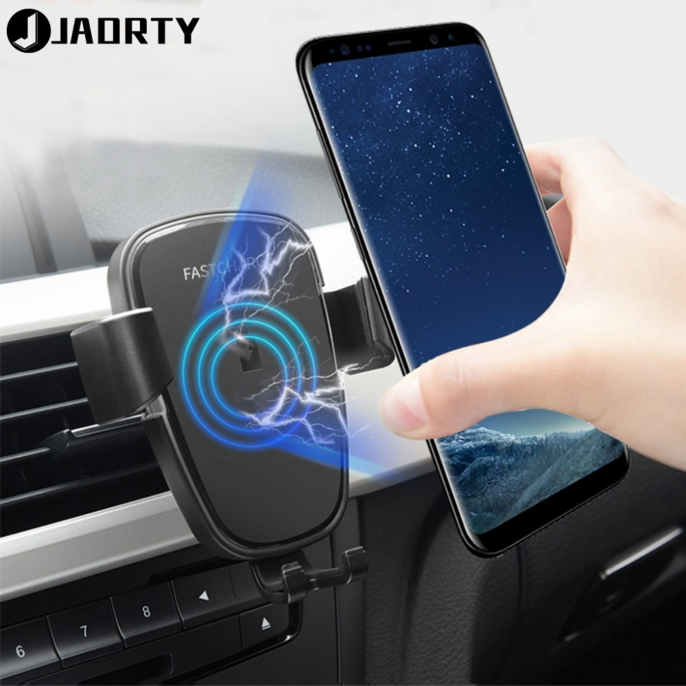 Qi Car Mount Wireless Charger For Samsung Galaxy S6 S7 S8 S9 Plus Fast Wireless Charging Car Phone Holder For Samsung Note 9 8