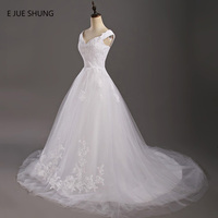 E JUE SHUNG White Lace Appliques Cheap Wedding Dresses Lace Up Back Cap Sleeves Wedding Gowns