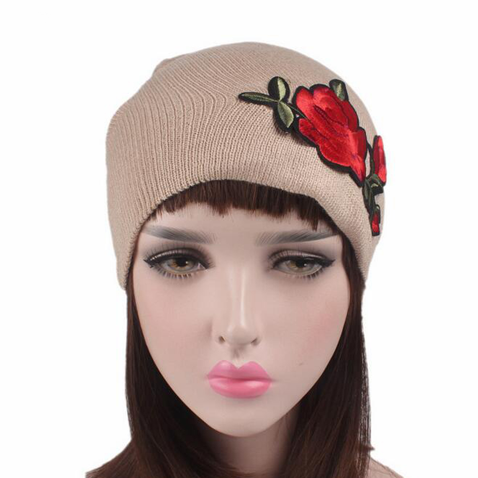 2017 New Men Women Winter Beanie Hats New Rose Flower Embroidered Lovers Hat Elastic Acrylic High Quality