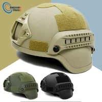 Casco táctico de calidad Airsoft Gear Paintball Head casco de máscara facial protector con cámara deportiva de visión nocturna montaje en 3 colores