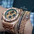 Anil arjandas mens pulseiras 2016 nova 24 k rose gold charm bracelet micro pave cz beads macrame pulseira preta pulseira masculina