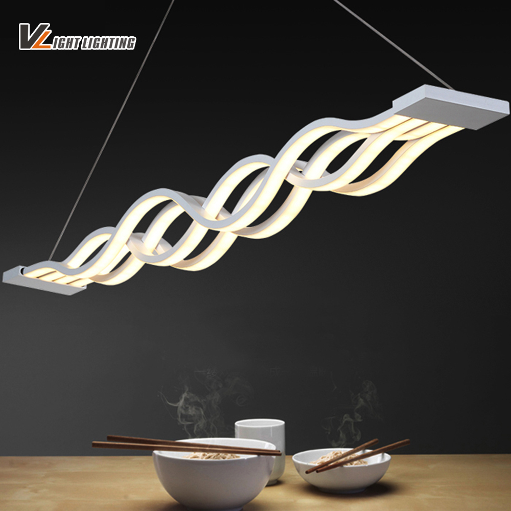 New Creative modern LED pendant lights Wave hanging lamp for  dining room living room Acrylic pendant lamp 85-265V lampadario