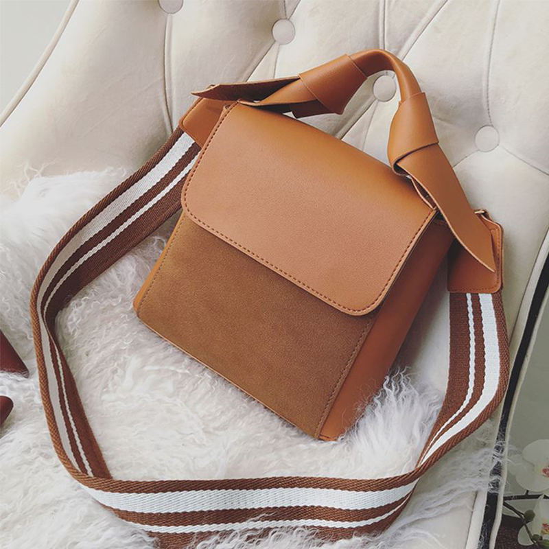 ETAILL Top Handle Scrub+PU leather Small Packages Female Shopping Bag Ladies Stripe Wide Strap Shoulder Messenger Crossbody Bags