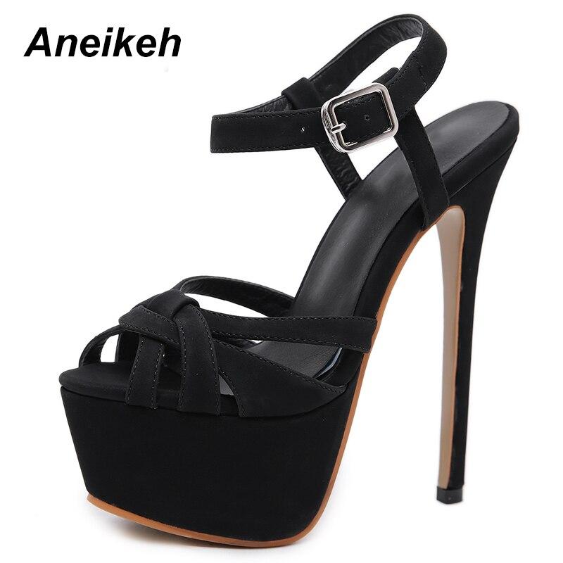 dec80906c8 Aneikeh 2019 nueva Ultra alta sandalias de las señoras de moda de verano de  gamuza estilete sandalias de Punta abierta los pies de negro bulbo/foco  zapatos ...