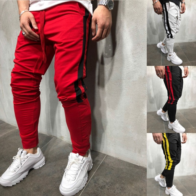 2019 Spring Hip Hop Casual Track Pants Fashion Streetwear Trousers Color Block Patchwork Harem Pants Joggers Mens
