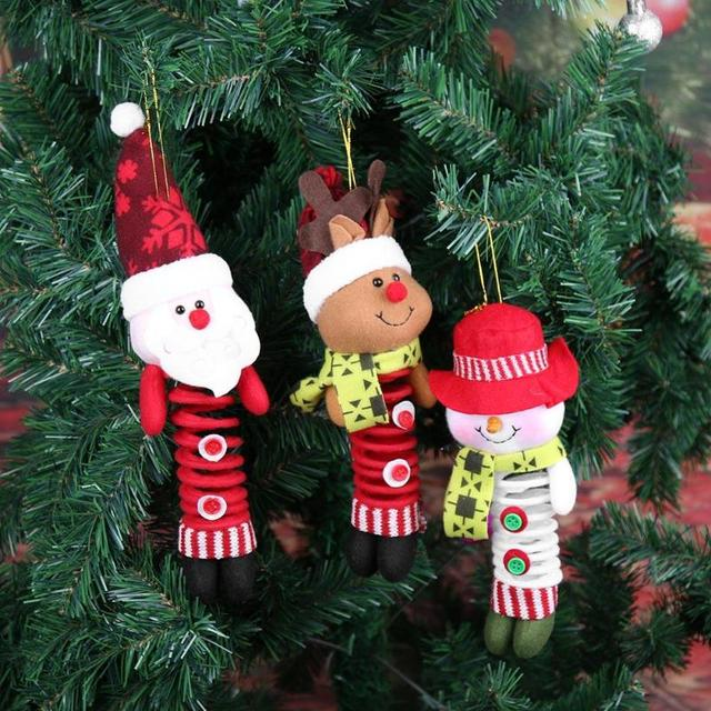 Christmas Swing Spring Foot Xmas Tree Doll Hanging Holiday Tree Ornament Pendant Decor Gift Festive New
