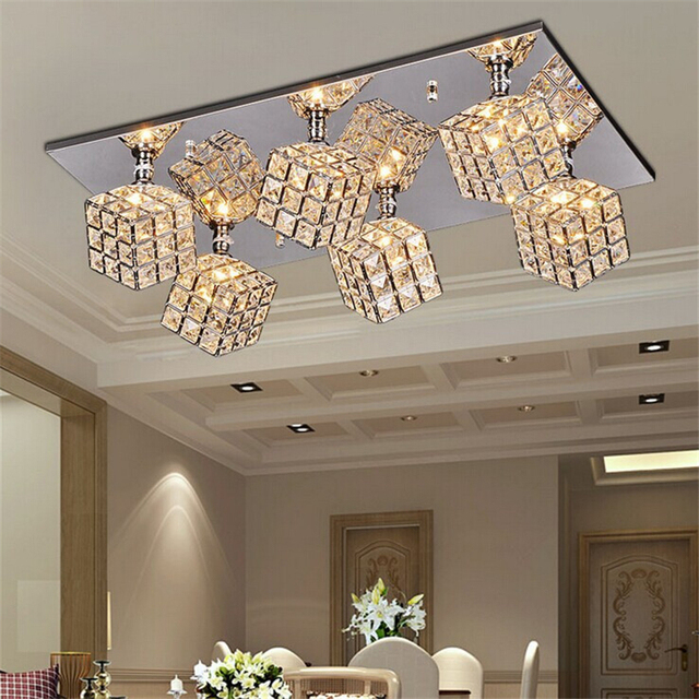 flush mountmoderncontemporary square ceiling light with 6 lights in crystal living
