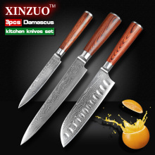 3 pcs Kitchen knife set Japanese 73 layers Damascus steel kitchen knife cleaver chef  utility knife wood handle free shipping