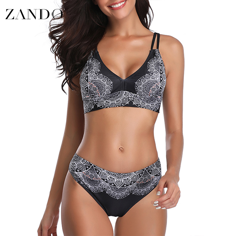 Zando Sexy Low Waist Women Bikini Set  Adjustable Shoulder Strap Printed Black White Flower Swimwear Biquinis
