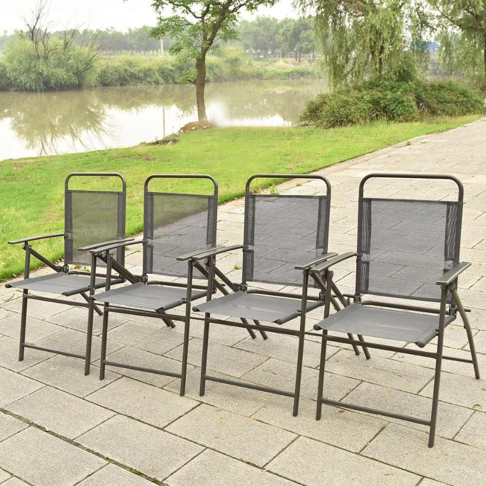 Peachy 6 Pcs Patio Garden Set Furniture 4 Folding Chairs Table With Umbrella Gray New Hw52116 Machost Co Dining Chair Design Ideas Machostcouk
