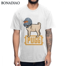 Funny PUBG PUG Wearing Level 3 Helmet T Shirt 100% Graphic Print T-shirt Classic Game Player Unknowns Battlegrounds Tee