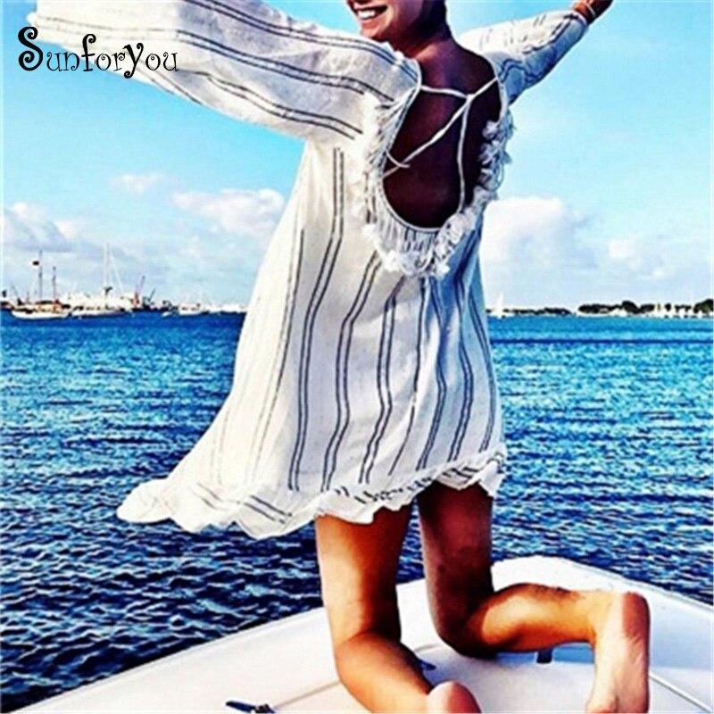 New Cotton Tassel Beach Cover Up Tunics For Beach  2020 Women Swimsuit Cover Up Swimwear Striped Pareo Beach Dress Beachwear