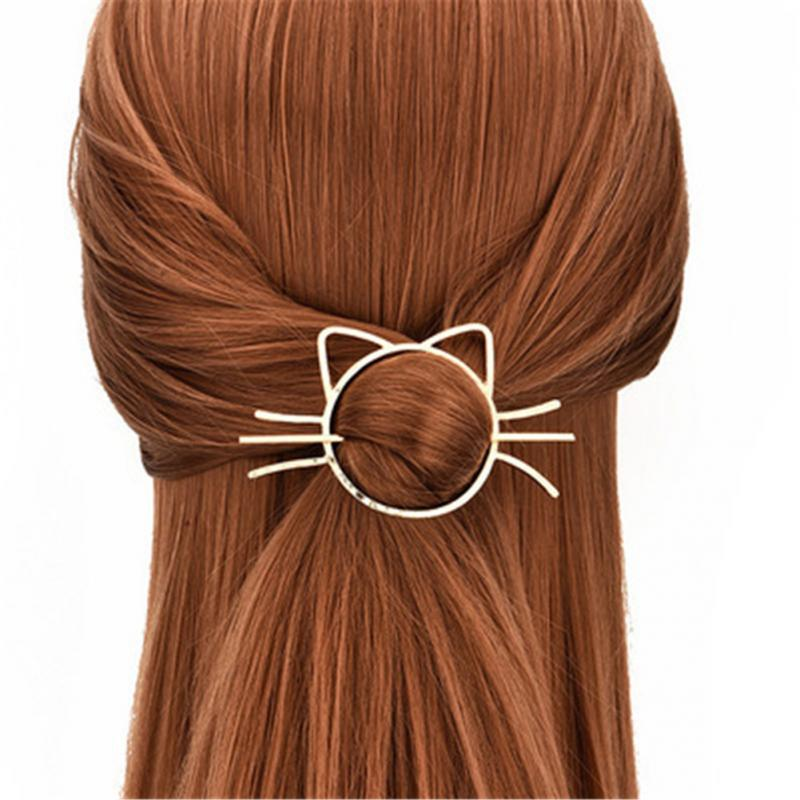 Cute Cat Woman Golden Hair Clips Beautiful And Elegant Girls Hair Barrette Hair  Decorations Accessories