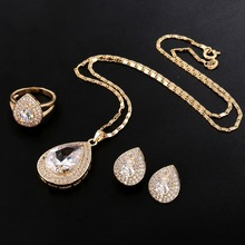 New Luxury Gold Plated Full Rhinestone Crystal Big Waterdrop Crystal Pendant Necklace Earrings Bridal Jewelry Sets #JS0015
