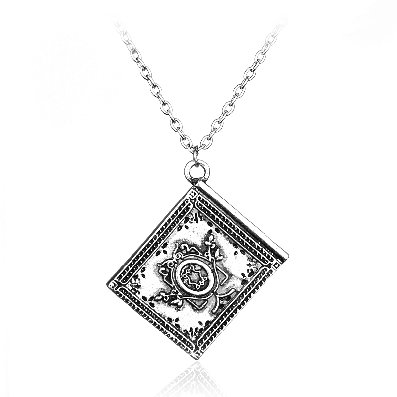 Hot Movie Once Upon A Time Henrys Book Fairy Tale Magical Engraved Vintage Chian Sliver Plated Pendant Necklace for Women