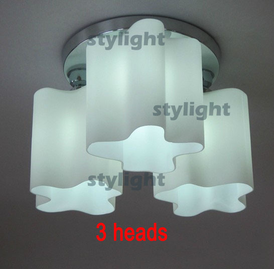 Milk glass lamps 3 heads light Ceiling Collection Lounge Living ceiling lights modern design ceiling lamp