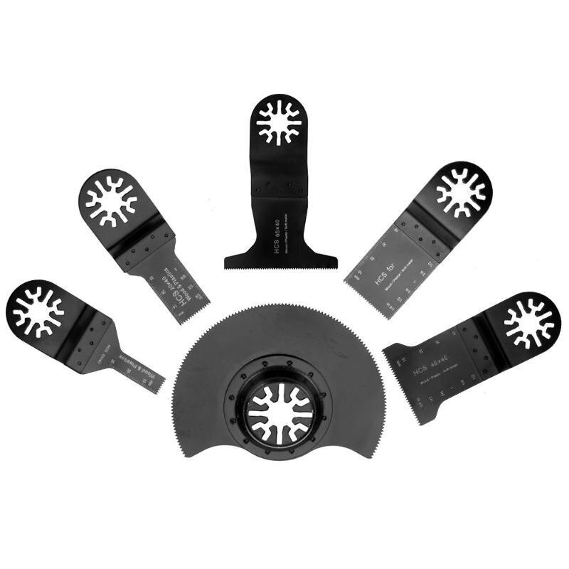 6 unids oscilante herramienta Sierra cuchillas Metal carpintería corte para Multimaster renovador herramientas eléctricas como Fein, Dremel