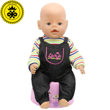 Baby Born Doll Clothes Fit 43cm Zapf Baby Born Doll Long sleeved Striped Jumpsuit Suit Accessories