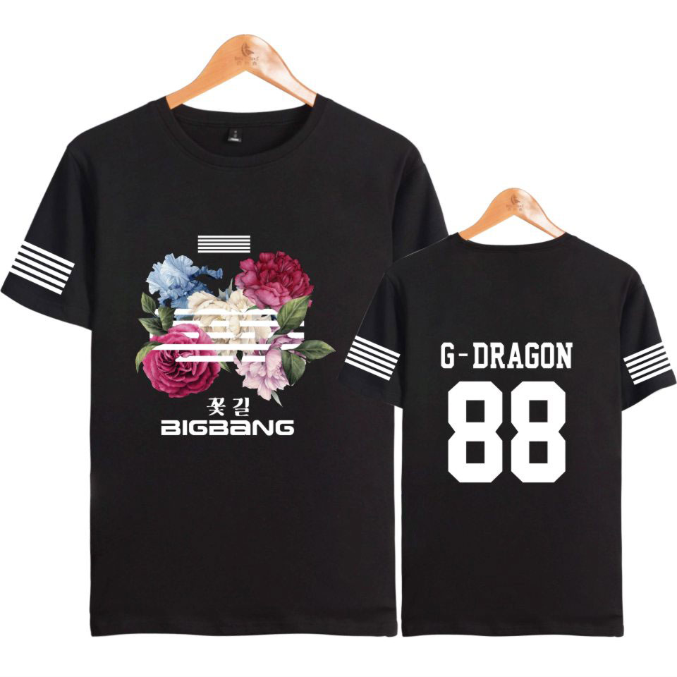 <font><b>BIGBANG</b></font> Kpop Flower Road Hip Hop T-shirts Short Sleeve Cotton T Shirt Summer Clothes G-DRAGON T.O.P SOL V.I D-LITE NAZZ image