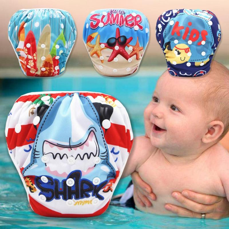1PC Cartoon Baby Swimming Pants Washable Adjustable Size Digital Printing Underwater Baby Swimming Trunks Diaper Pool Pant W4