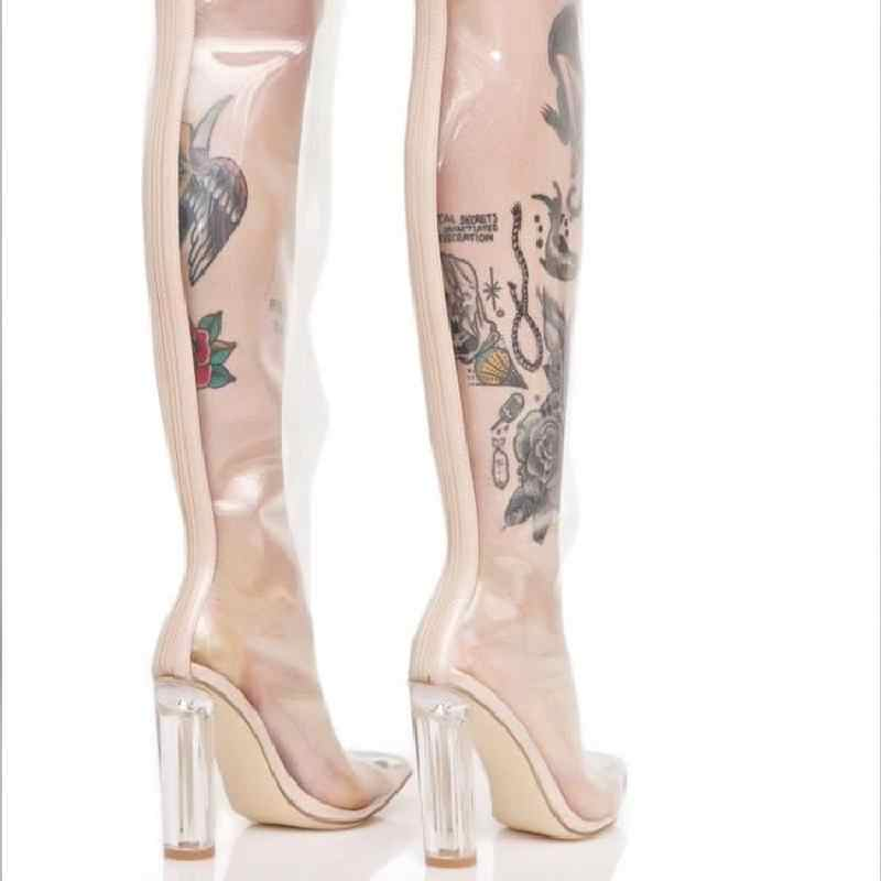 957dbd4adea5 ... Chunky PVC Heels Thigh High Boots Women Transparent Rain Boots Over The  Knee Perspex Jelly Shoes ...