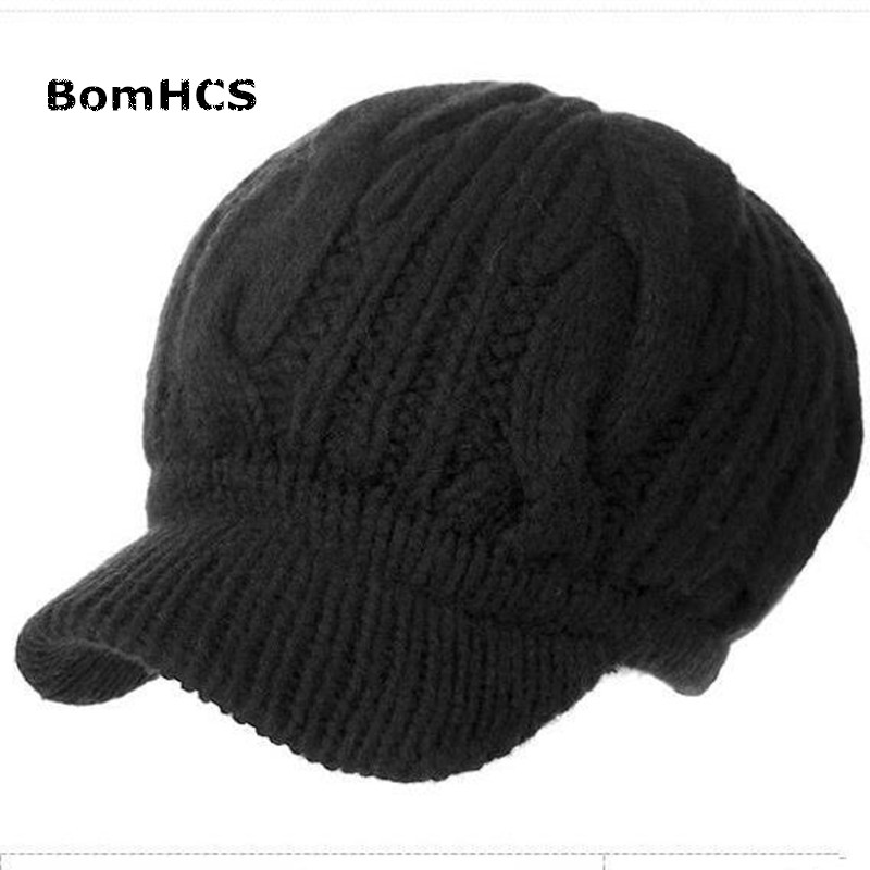BomHCS Fashion Women's All-match Beret Winter Thick Warm 100% Handmade Knitted Hat Caps