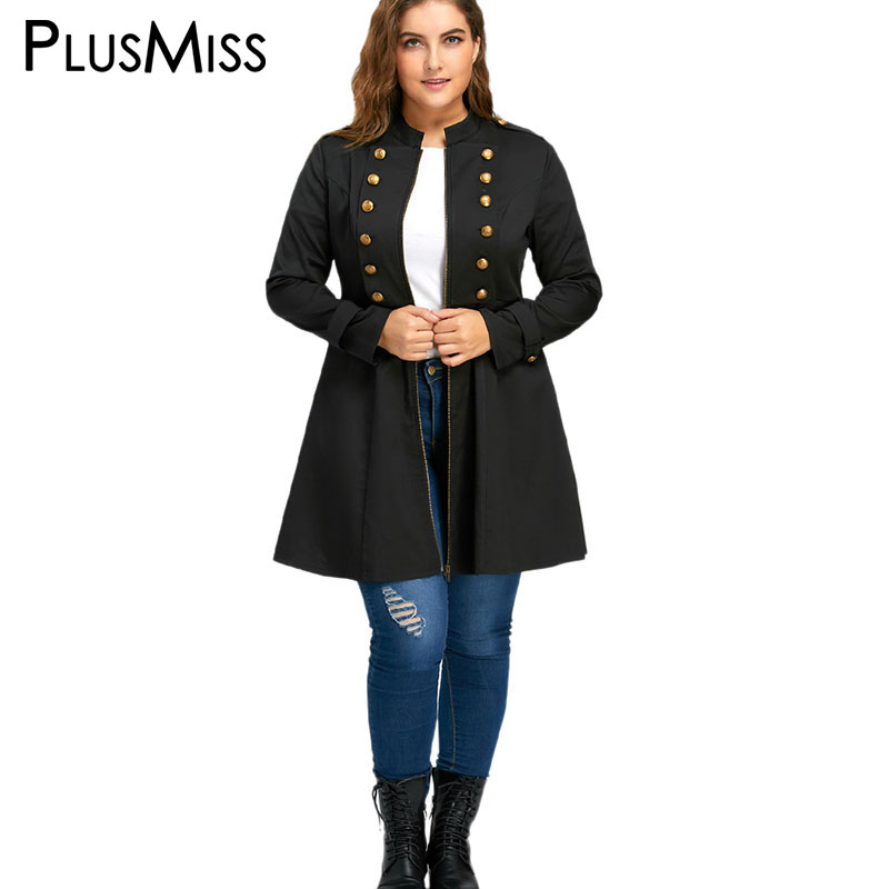 Plus Size 5XL Autumn Winter 2017 Double Breasted Flare Coat Women Oversized Zipper   Trench   Coat Windbreaker Female Outerwear