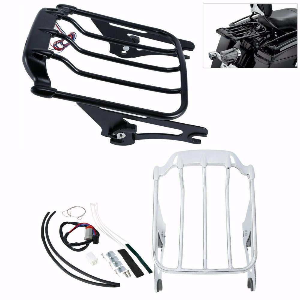 Motorcycle 2 up Luggage Rack LED Tail Light Smoke Lens For Harley Road King Electra Glide