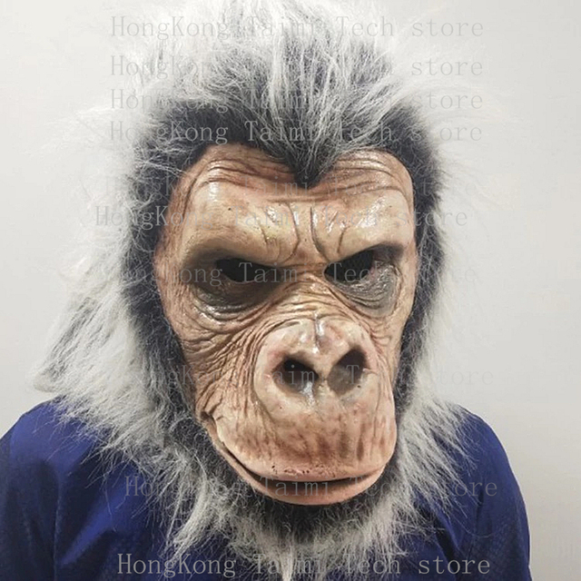 King Kong Gorilla Mask hood Gorillas Monkey Latex Animals Masks Halloween Planet the Apes Prop decorations adult mascaras bape