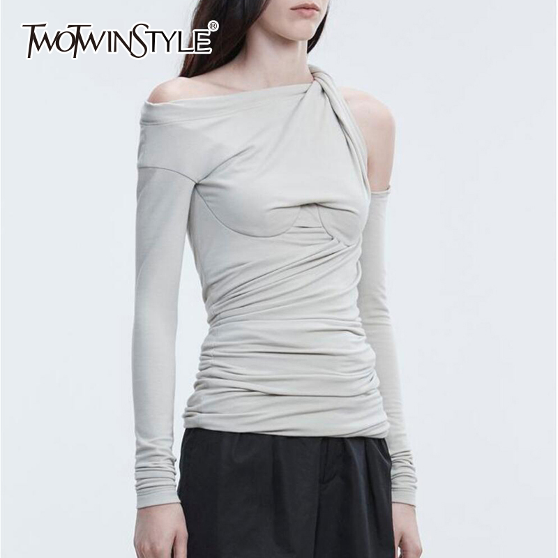 TWOTWINSTYLE Off Shoulder T Shirt Female Ruched Irregular Collar Slim Sexy T Shirts Summer 2019 Fashion