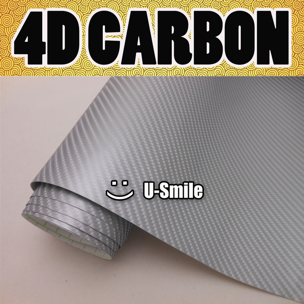 Premium 4D Gloss SILVER Carbon Fiber Vinyl Film Wrap Bubble Free Air Release For Car Wraps Size:1.52X30M/Roll high quality black glossy 2d carbon fiber vinyl air free bubble for vehicle wraps size 1 52 30m roll