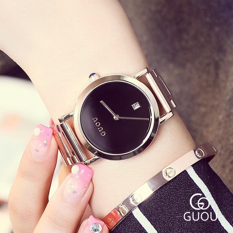 Relogios 2018 New Hong Kong Brand GUOU Women Simple style Quartz Watch Fashion Lady Rose Gold Calender Waterproof watches Zegark цены онлайн